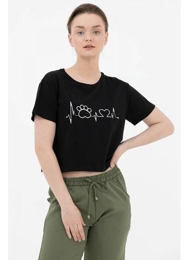 Sementa Oversize Basic Baskılı Kısa Tshirt - Siyah Siyah
